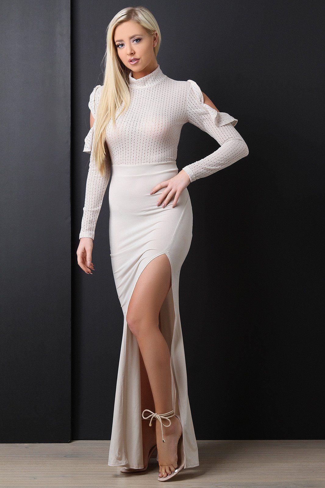 SemiSheer Mesh Ruffle Cold Shoulder Maxi Dress Dresses