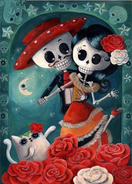 5d diy diamond painting romantic cartoon skeleton couple