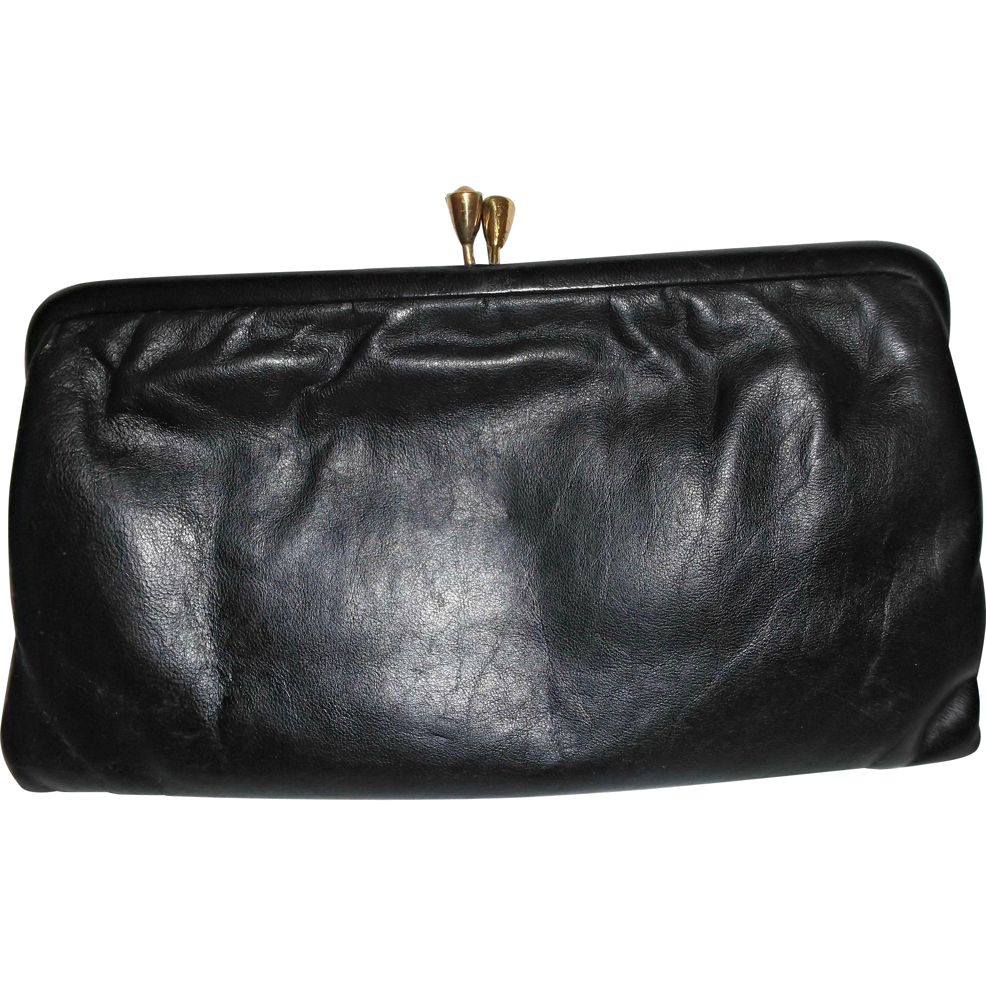 A vintage black leather clutch bag with a gold tone kiss lock. Interior is  black rayon 0746da9a1