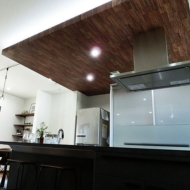 壁 天井 間接照明 折り下げ天井 木目調クロス ダウンライト などの