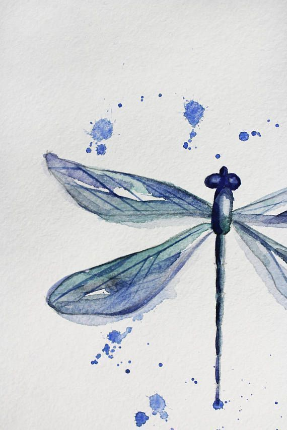 Original watercolor DRAGONFLY, watercolor painting, original art, home decor, nature illustration, dragonfly decor, dragonfly art OOAK - Merys Stores#art #decor #dragonfly #home #illustration #merys #nature #ooak #original #painting #stores #watercolor