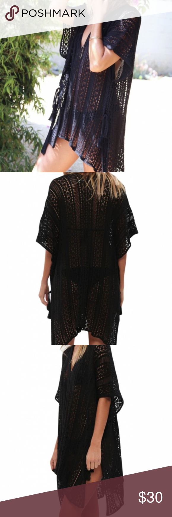 d7dc994318 Black Crochet Knitted Tassel Tie Kimono Beachwear This cute and stylish  swimsuit cover up is the