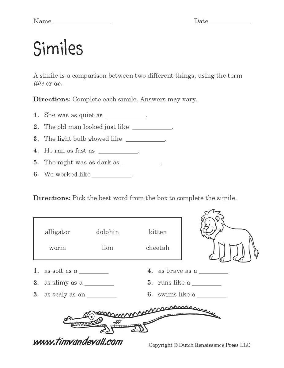 Simile Worksheet Printable Jpg 927 1 200 Pixels Simile Worksheet Similes And Metaphors Poetry Worksheets