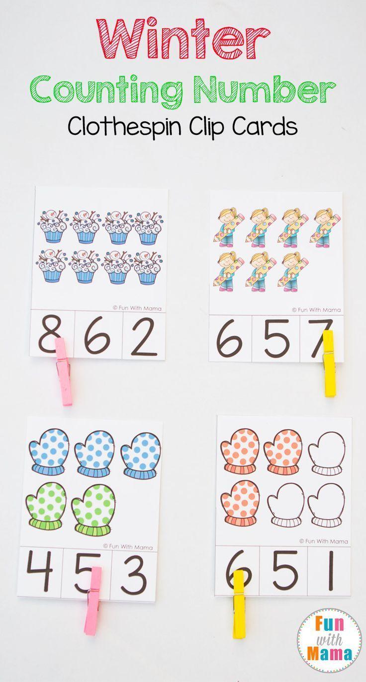 winter preschool count and clip cards kindergarten activities pinterest mathe vorschule. Black Bedroom Furniture Sets. Home Design Ideas