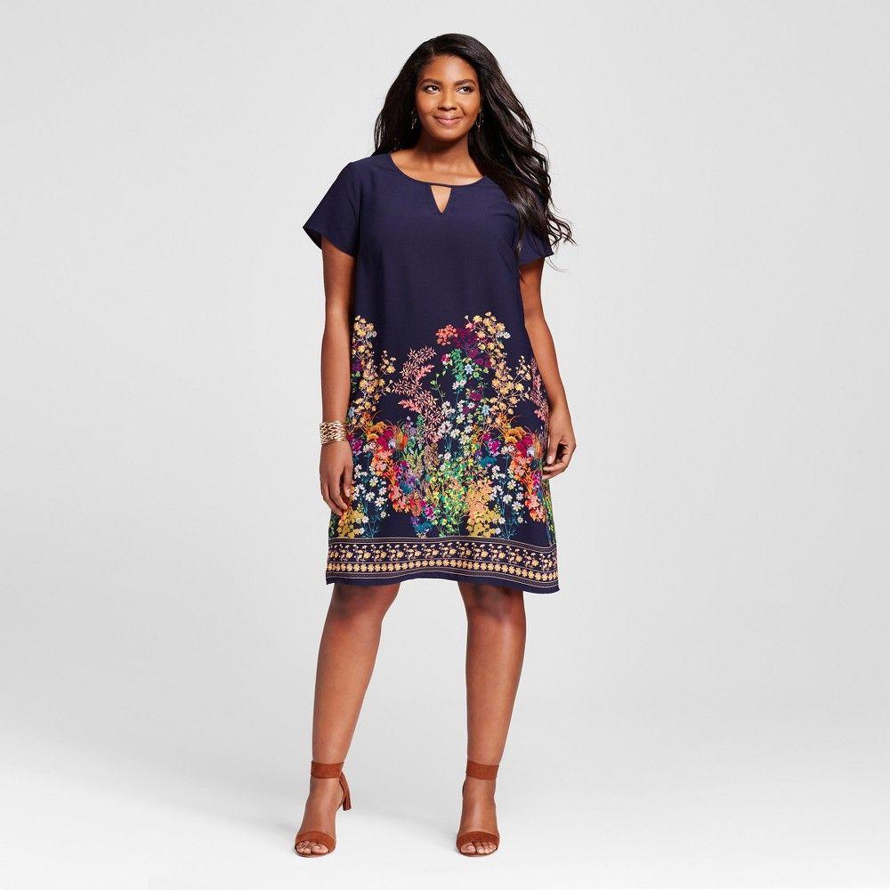 Womenus plus size short sleeve shift dress merona navy x blue