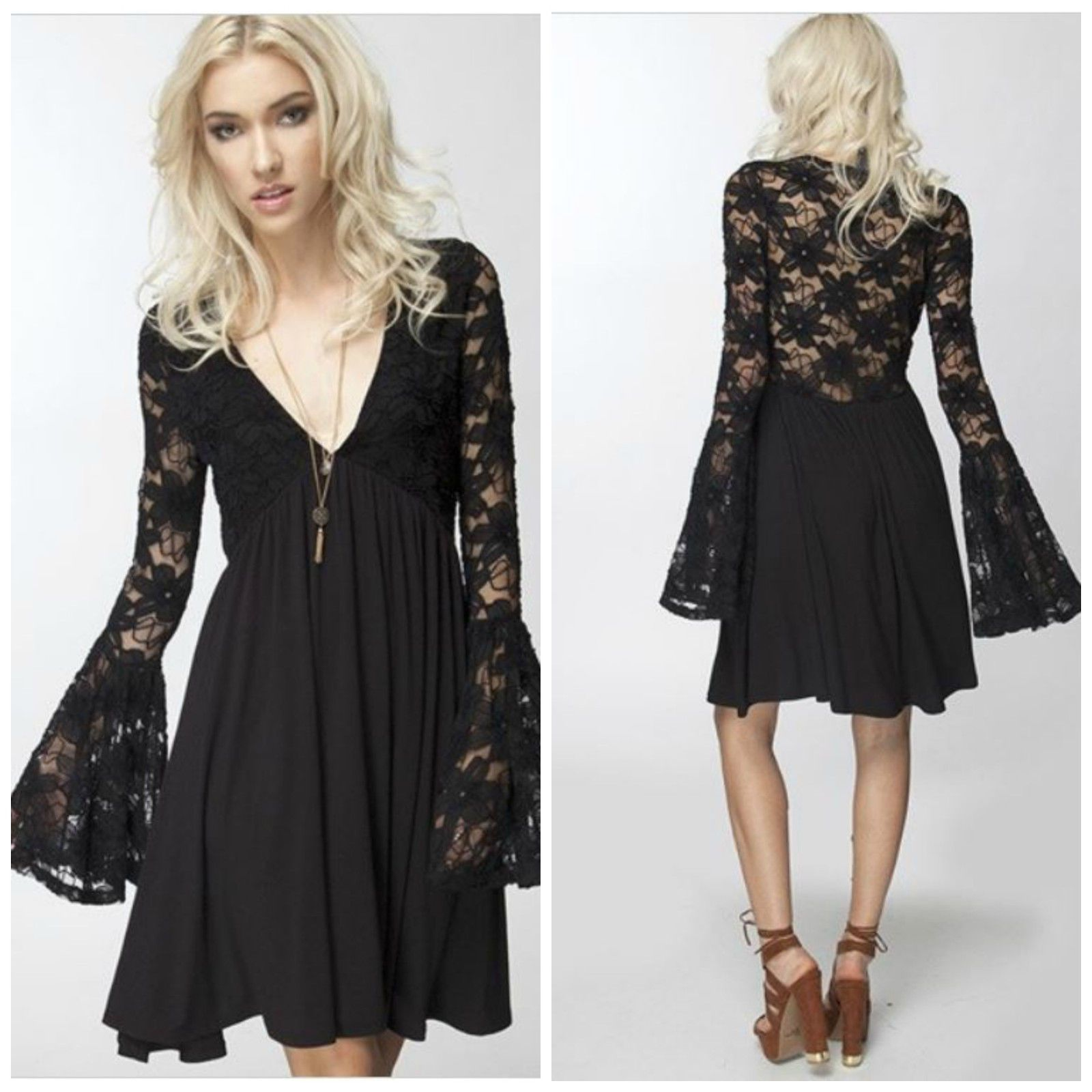 Womens New Long Bell Sleeve Solid Black Lace Swing Dress Tunic ...