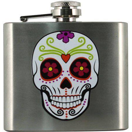 Day Of Dead Skull Flask Halloween Decoration, Multicolor Flask - walmart halloween decorations