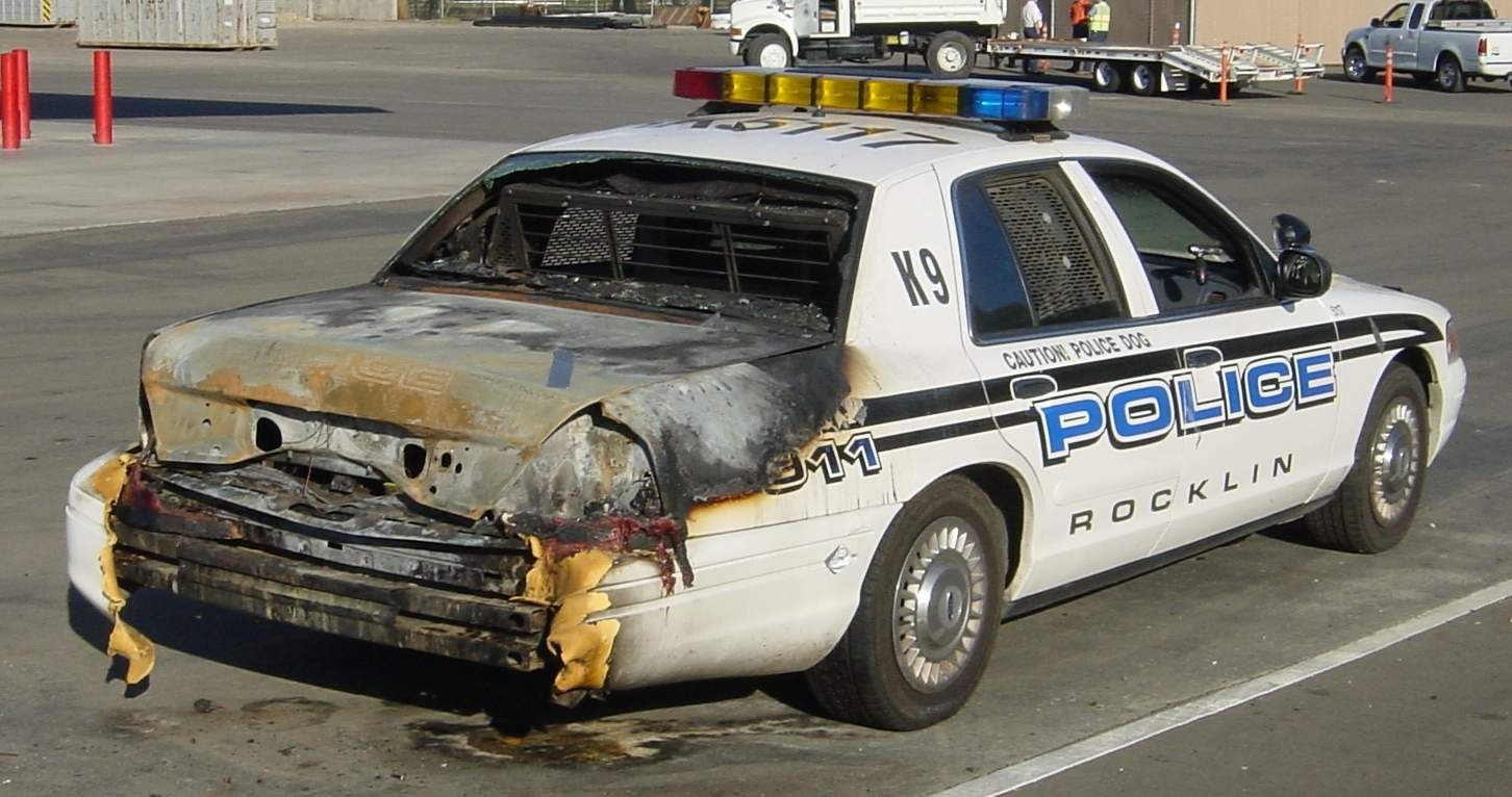 old fashioned cars from car shows | Police car burned from ...