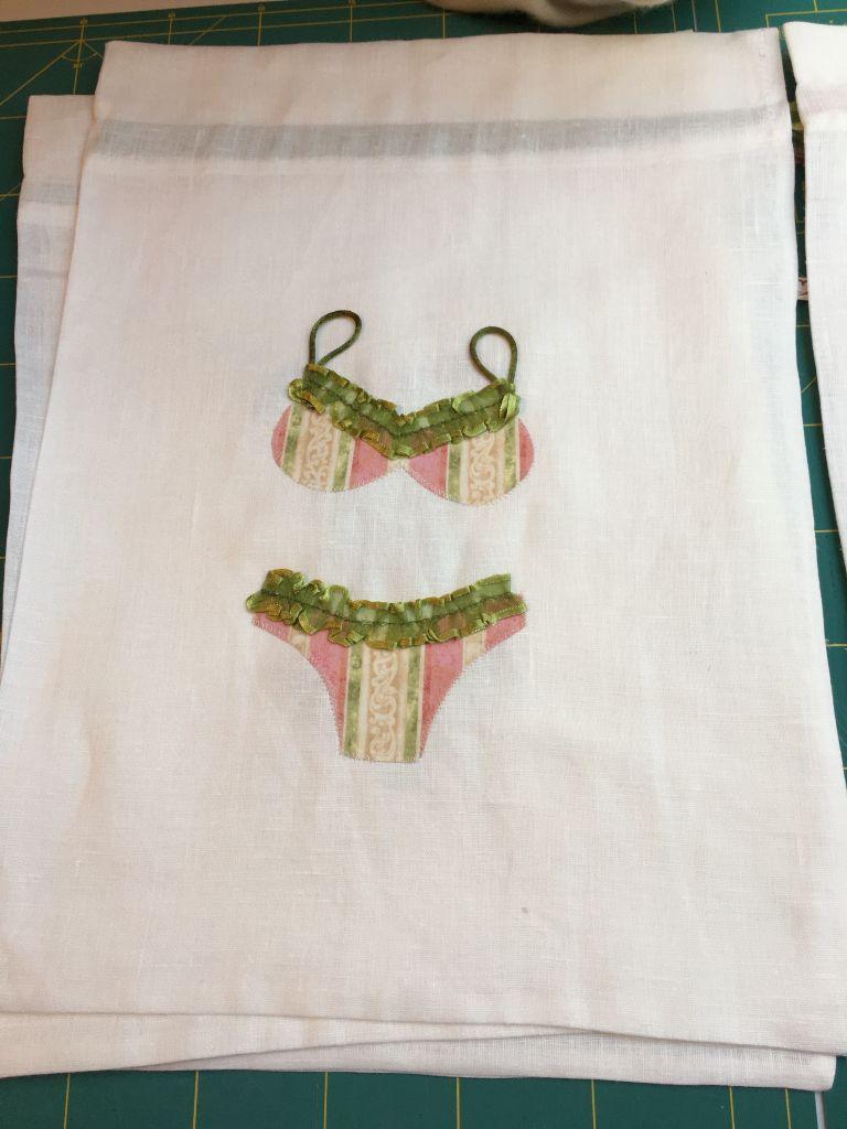Sacchetto portabiancheria in lino con applicazioni il mio cucito tableware napkins e kitchen - Cucito creativo bagno ...