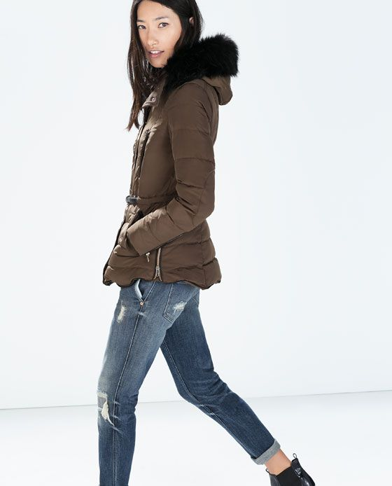 Mid Length Puffer Jacket With Fur Hood From Zara Wearing In 2018