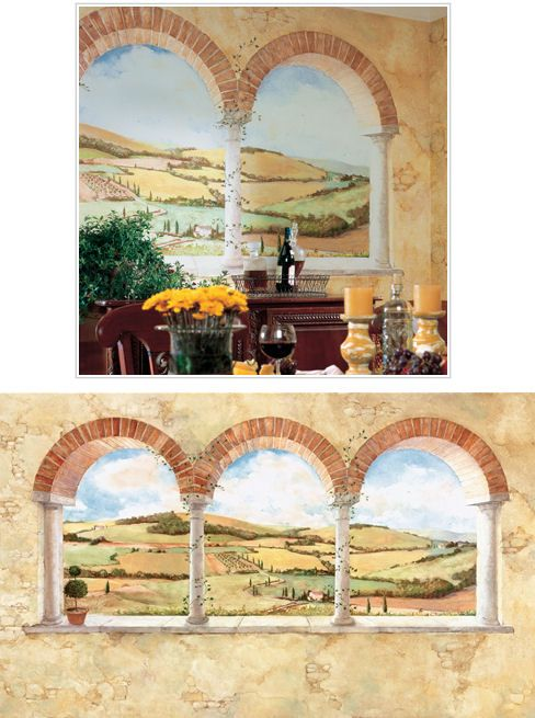 Tuscan wall mural made from smart stick so easy to install