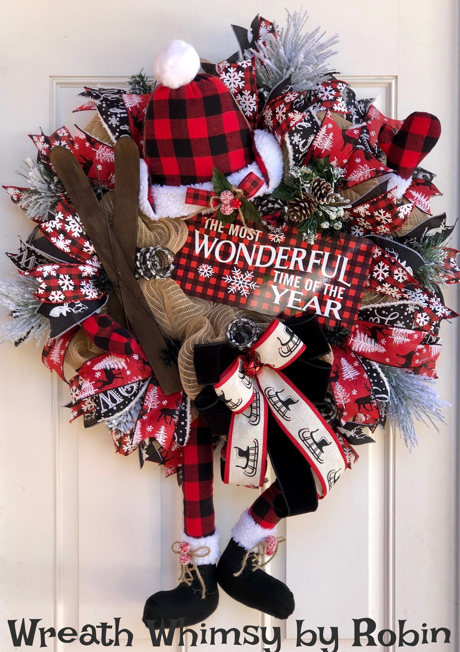 Buffalo Check Christmas Wreath.Pin On Trendy Tree Custom Wreath Designer Creations