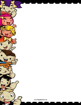 Smiling Kids Border Clip Art Freebies Page Borders Cartoon Kids