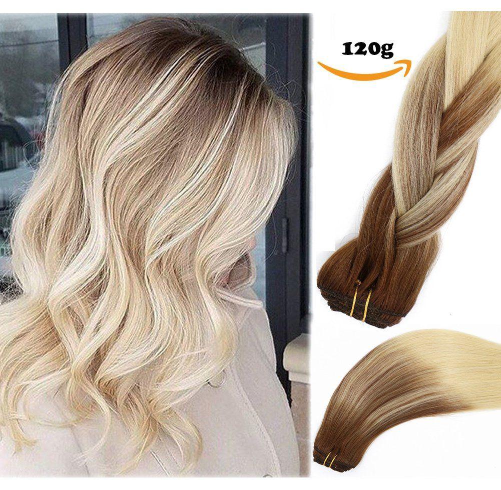Clip In Human Hair Extensions Medium Brown To Bleach Blonde