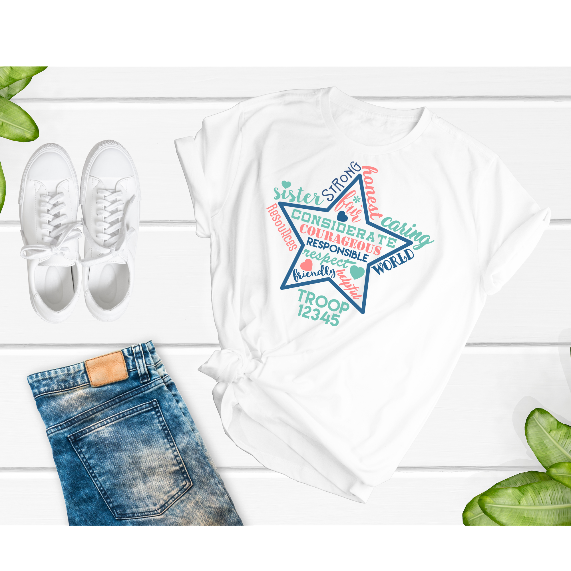 SCOUTS Girl Inspirational STAR with Custom Troop Number