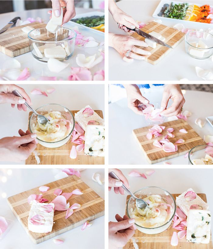 kokosöl kosmetik selber machen, seifen mit rosenöl und rosenblättern ...