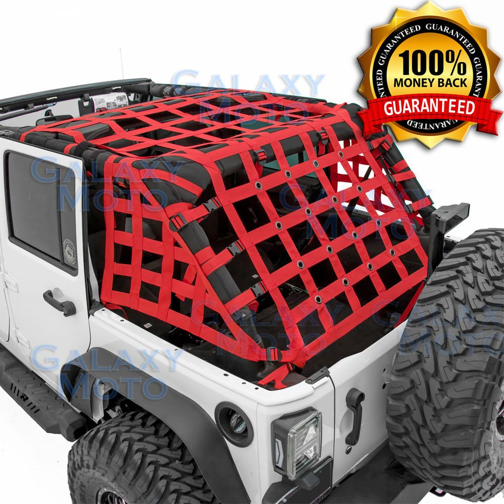 Off Road 4 Door Red Cargo Restraint Net System 4x4 For 07 17 Jeep