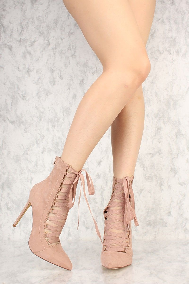 f8b59211cd Mauve Strappy Lace Up Pointy Toe Single Sole Booties Faux Suede in ...