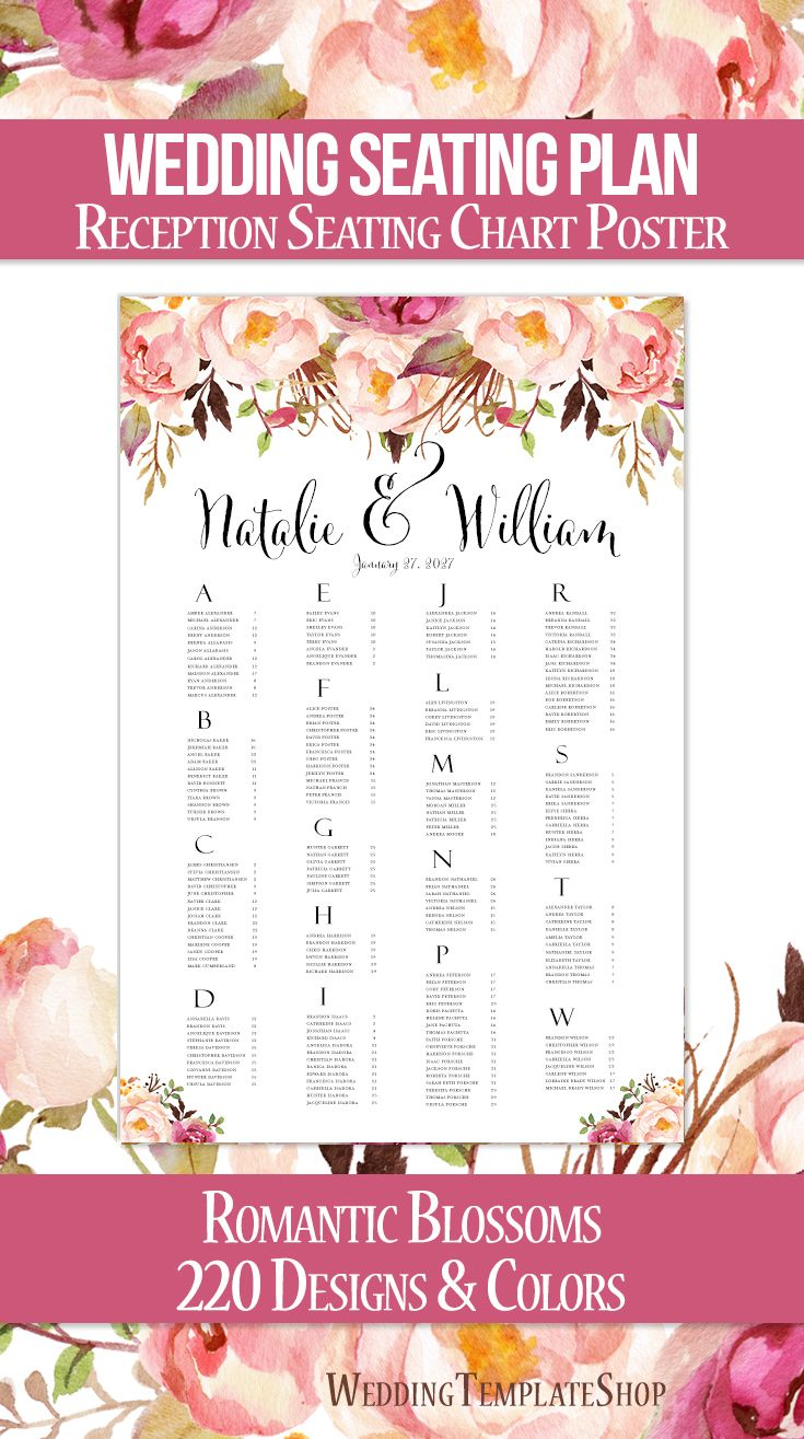 Wedding reception seating chart poster ideas  plans also romantic blossoms watercolor floral rh pinterest