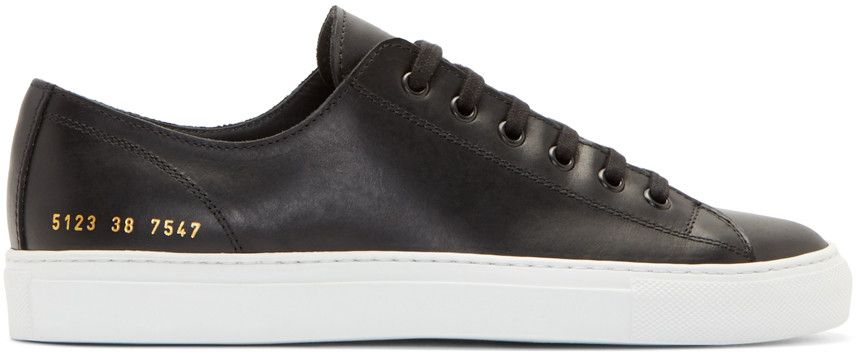 Common Projects Black Leather Tournament Low Sneakers