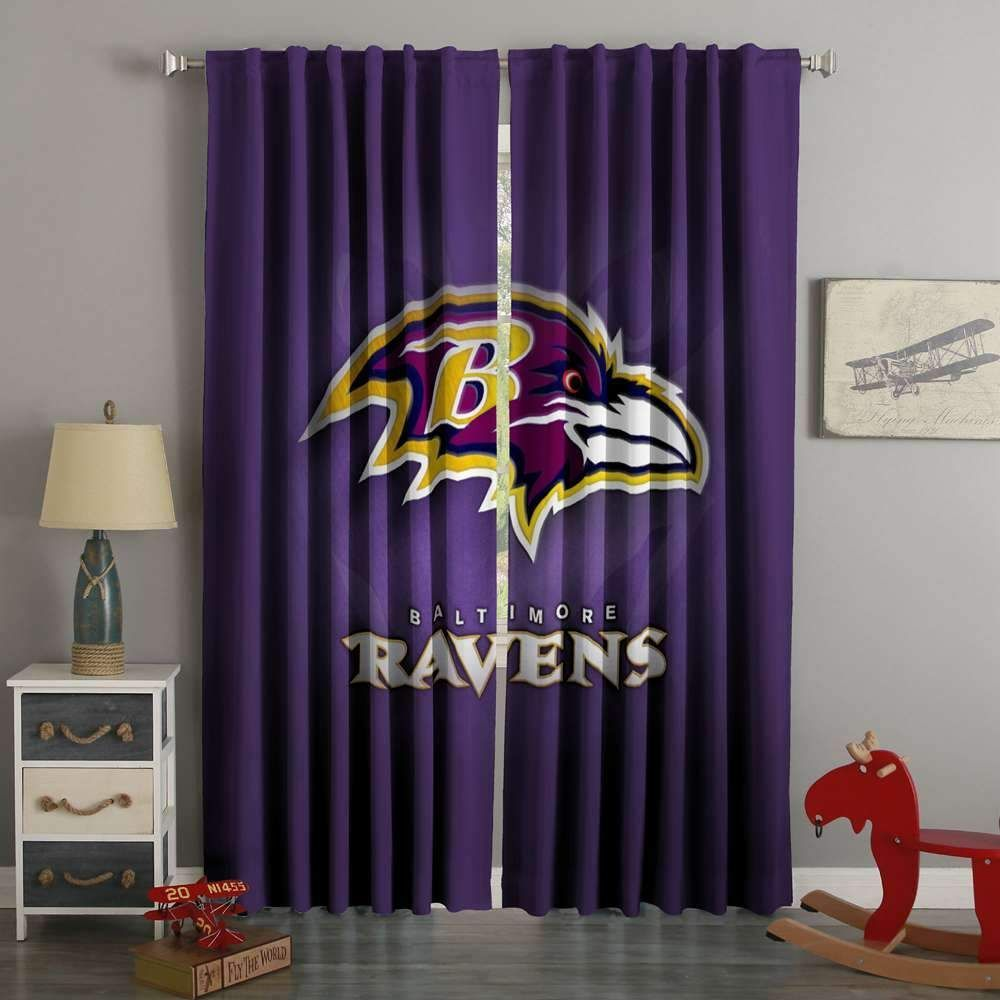 3D Printed Baltimore Ravens Style Custom Living Room Curtains BedroomCurtainsModern