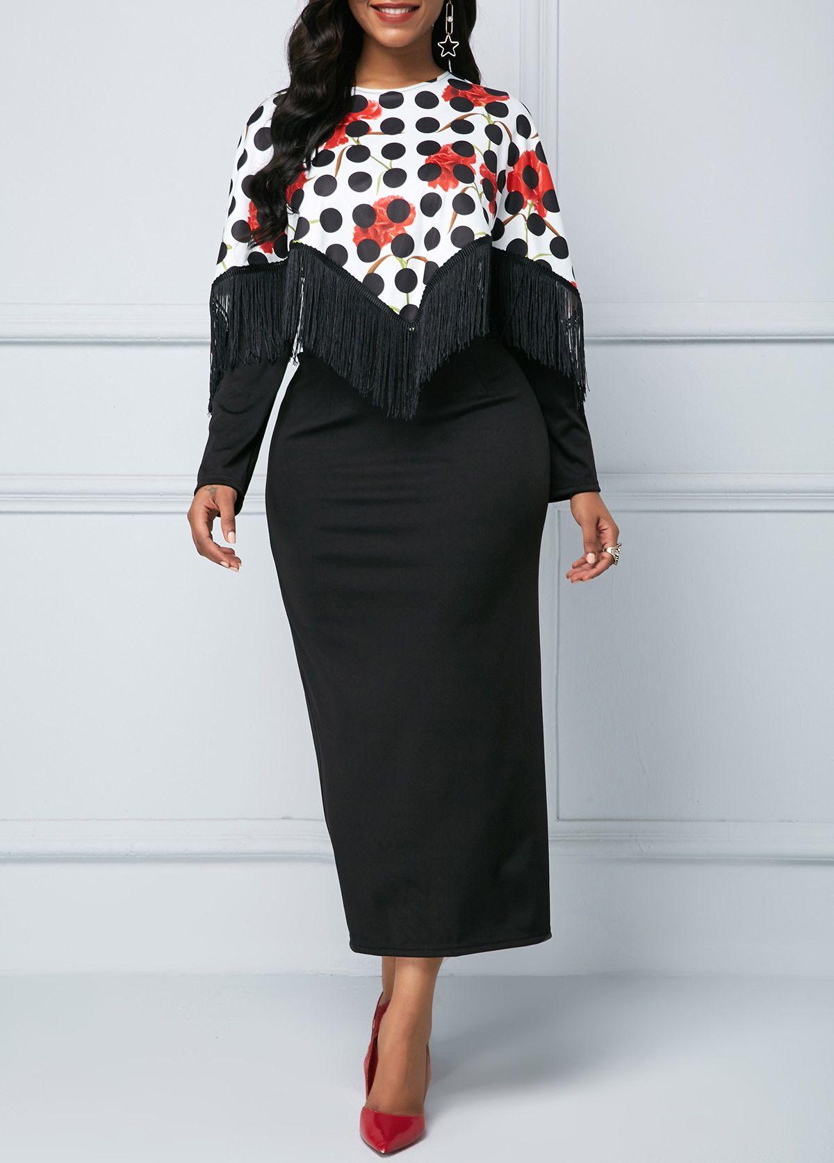 Zipper back long sleeve dot print dress in fall dress