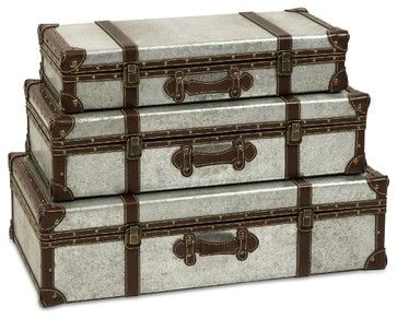 Brown and Gray Galvanized Trunks Suitcase Style- Set of 3 ...