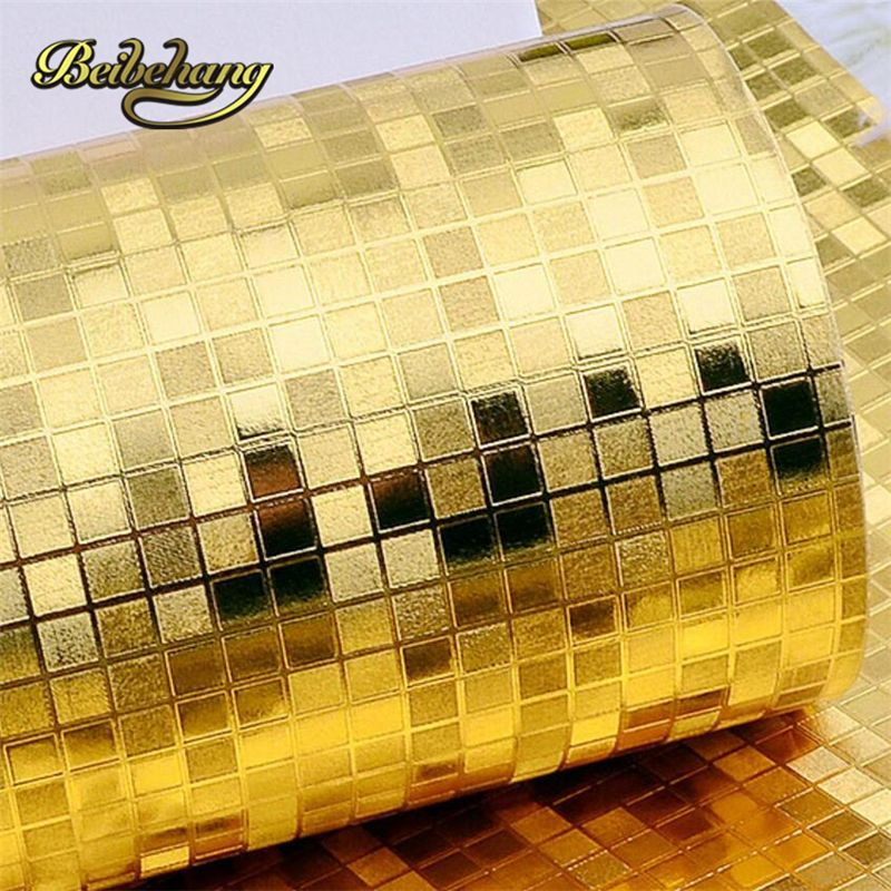 Beibehang Mini Mosaic Luxury Glitter Background Wall Shiny Gold Foil Wallpaper Silver Ceiling Paper