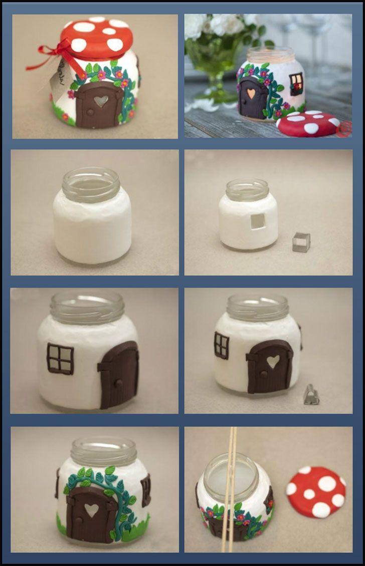 Vela Em Potinho De Vidro Decorado Com Biscuit Porcelana Fria