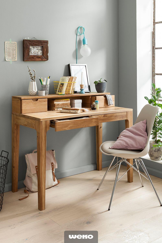 Da Geht Einem Die Arbeit Leicht Von Der Hand Schicker Schreibtisch Aus Wildeiche Schicker Schreibtisch Schreibtisch Schreibtisch Holz