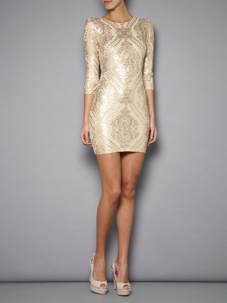 Tfnc Baroque Long Sleeve Dress in Gold - Lyst