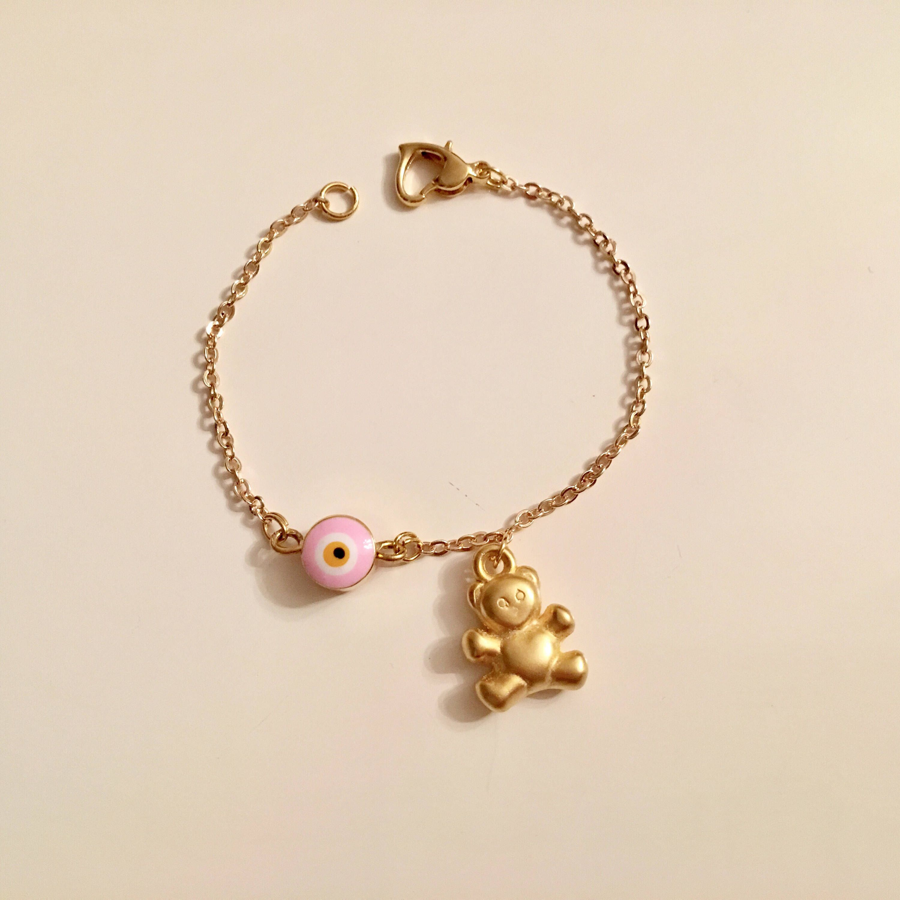 Excited To Share This Item From My Etsy Pink Evil Eye Bear Charm Bracelet Amulet Gold Anklet Ankle Kids Jewelry Toddler