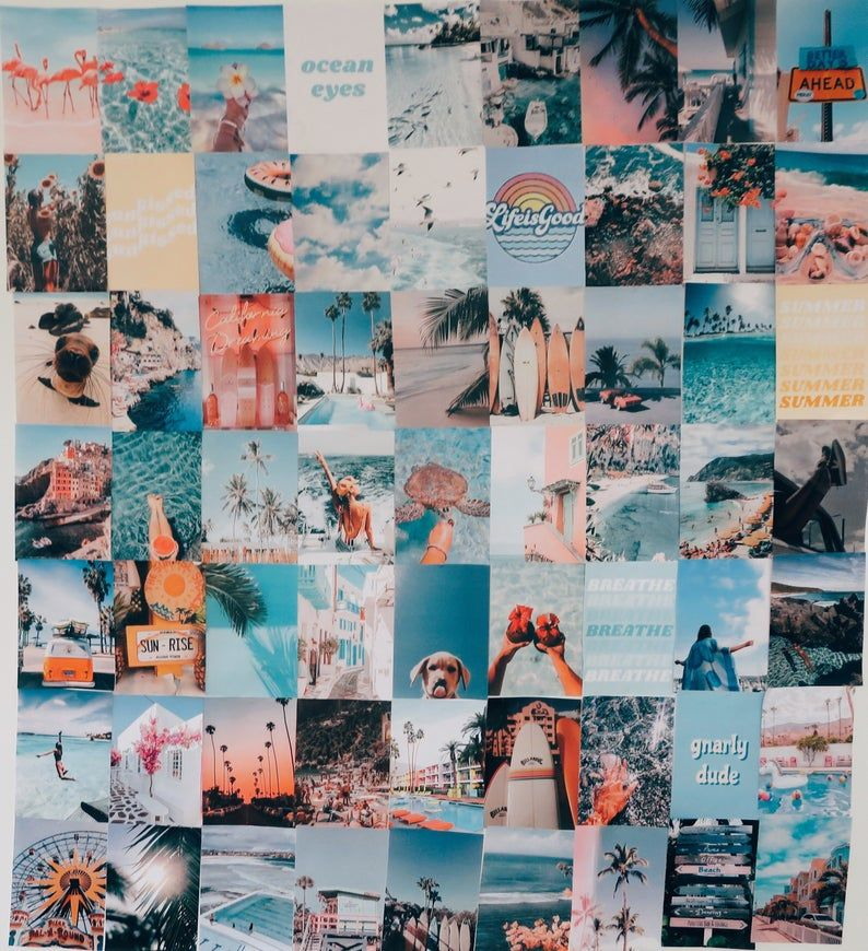 Beachy Collage Kit In 2020 Beach Wall Collage Picture Wall Bedroom Photo Walls Bedroom