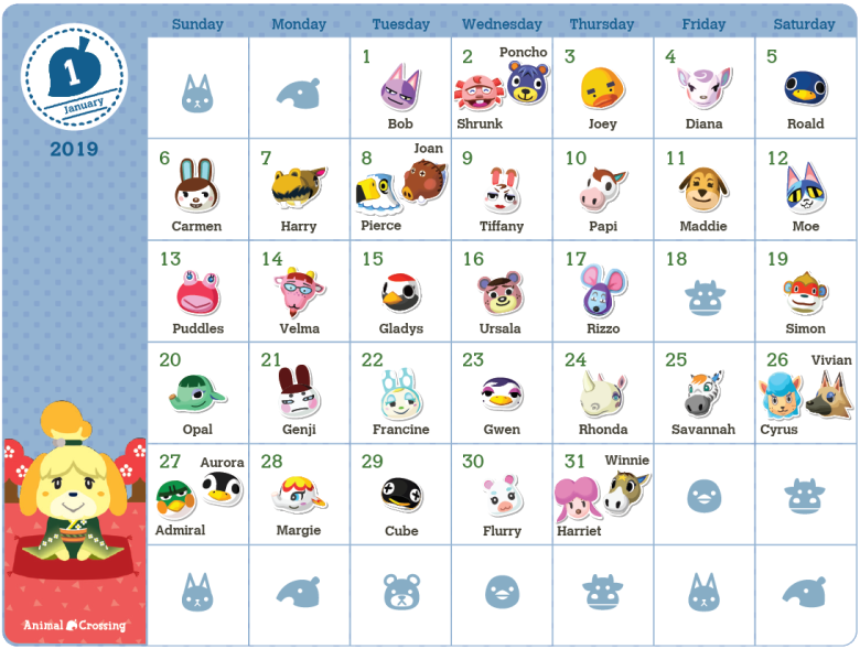 Animal Crossing 2019 Birthday Calendar Now Available On My