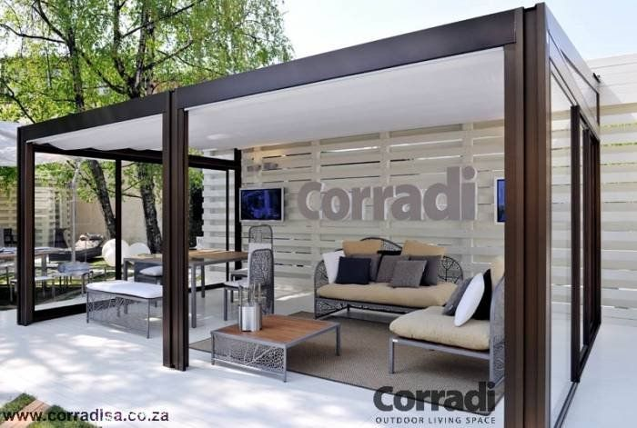 pergotenda millenium aluminium pergola with retractable roof by corradi italy pergotenda kubo. Black Bedroom Furniture Sets. Home Design Ideas