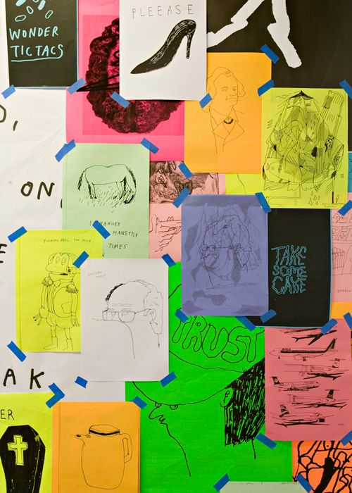 idea doodles on colored paper collaged with washi tape--way cooler than a bulletin board.