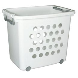 Wheeled Stackable Laundry Basket 12 99 At The Container Store Toy Storage Baskets Laundry Storage Laundry Basket On Wheels
