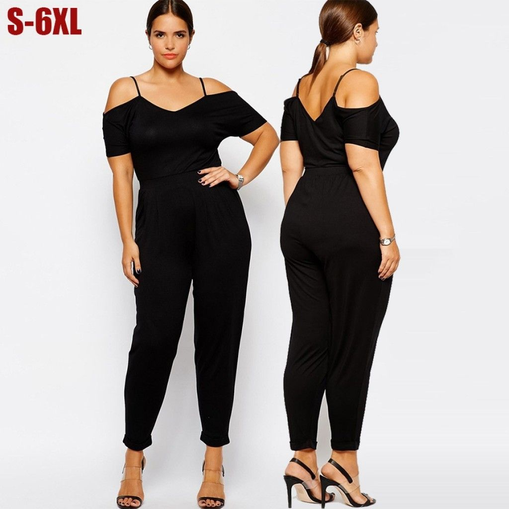 42ba2688cffb9 5X 6Xl Women Jumpsuits Plus Size Sexy Rompers Long Black Big throughout  Dressy Rompers And Jumpsuits Plus Size