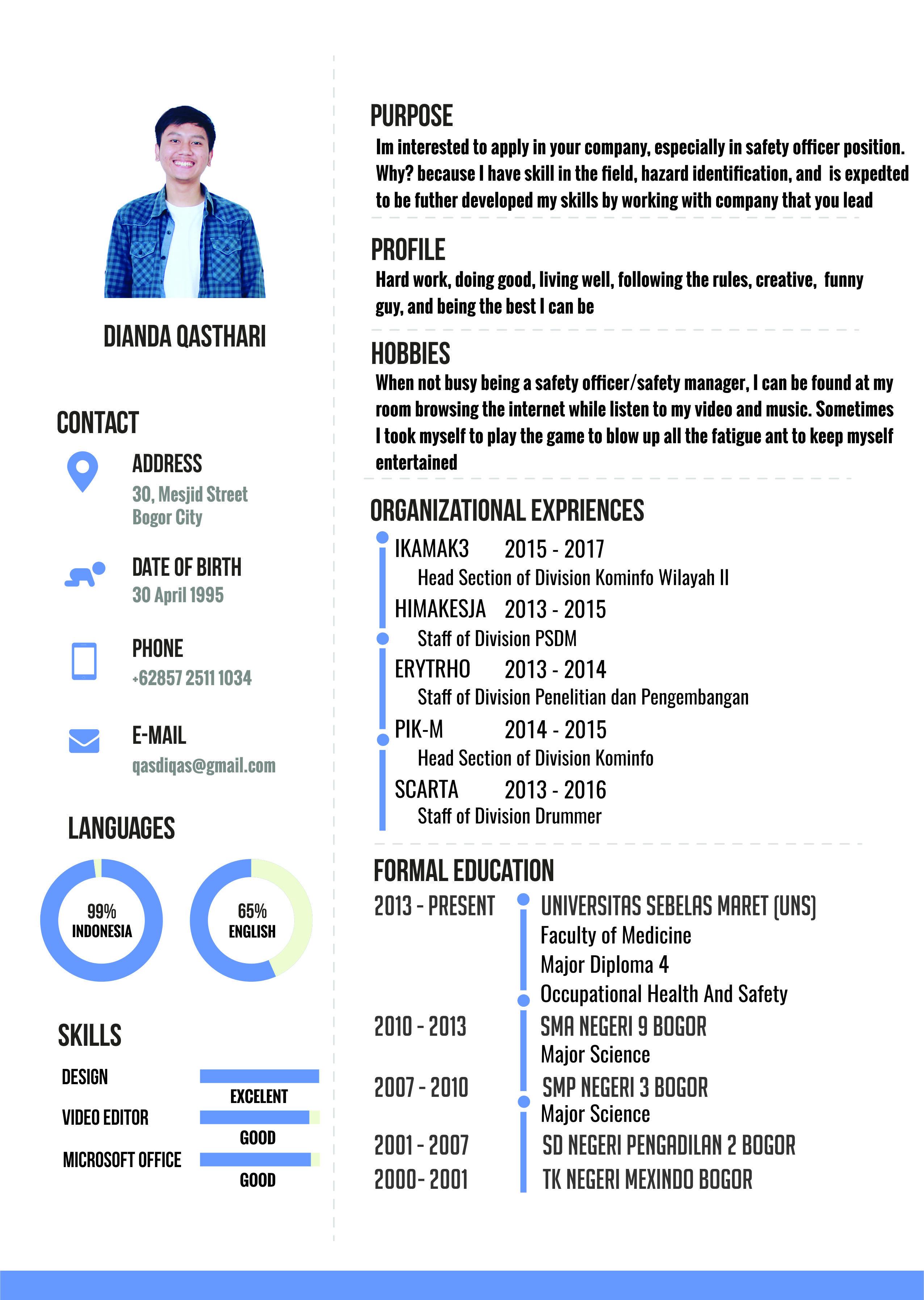 Contoh Cv Bahasa Inggris Diqas Blog Go Riwayat Hidup Desain Resume Cv Kreatif