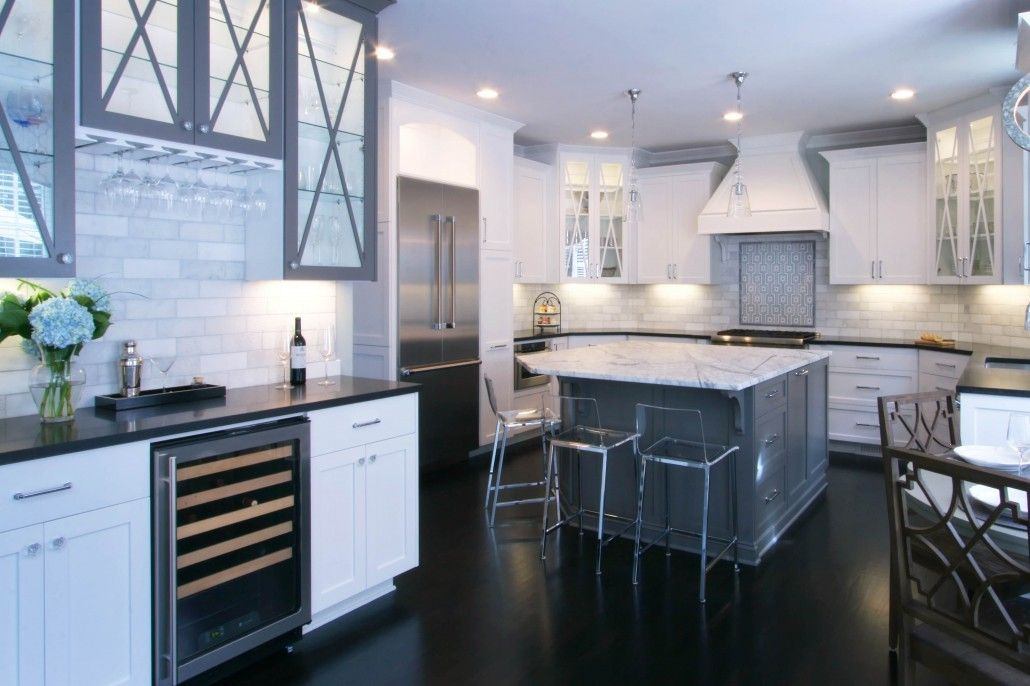 Transitional project created a beautiful gray and white kitchen the sleek white clean lines · homey kitcheninterior design