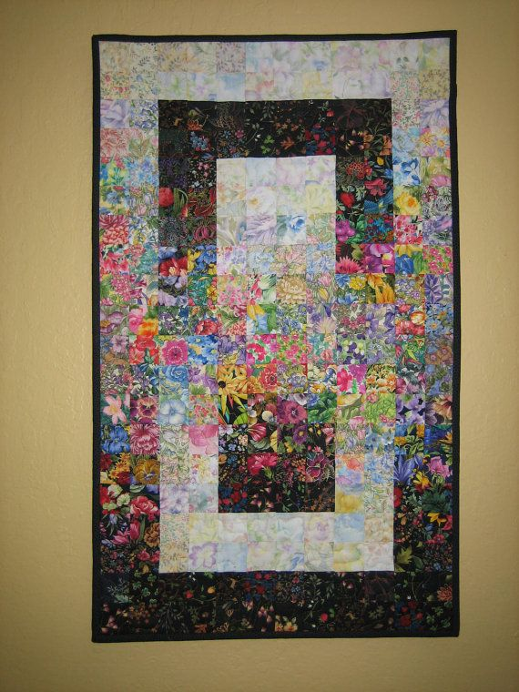 Art Quilt Small Window Garden Fabric Wall Hanging by