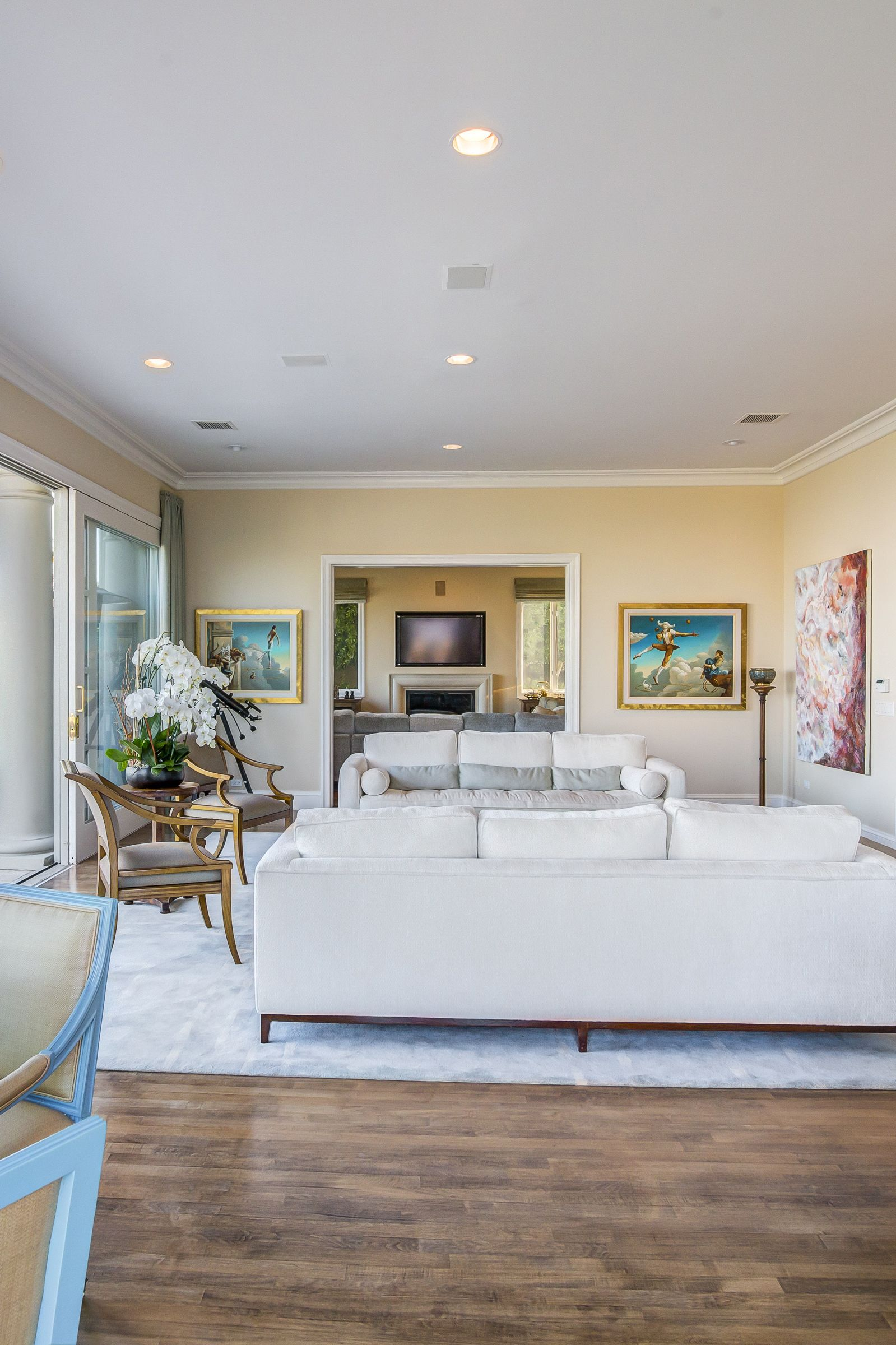 Mediterranean bel air mansion with antique furniture and modern art luxury california home interior decor design katy lee estate sales