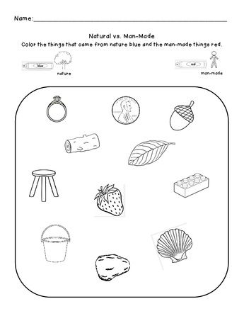 Natural Vs Man Made An Introduction Science Skills Second Grade Science Man