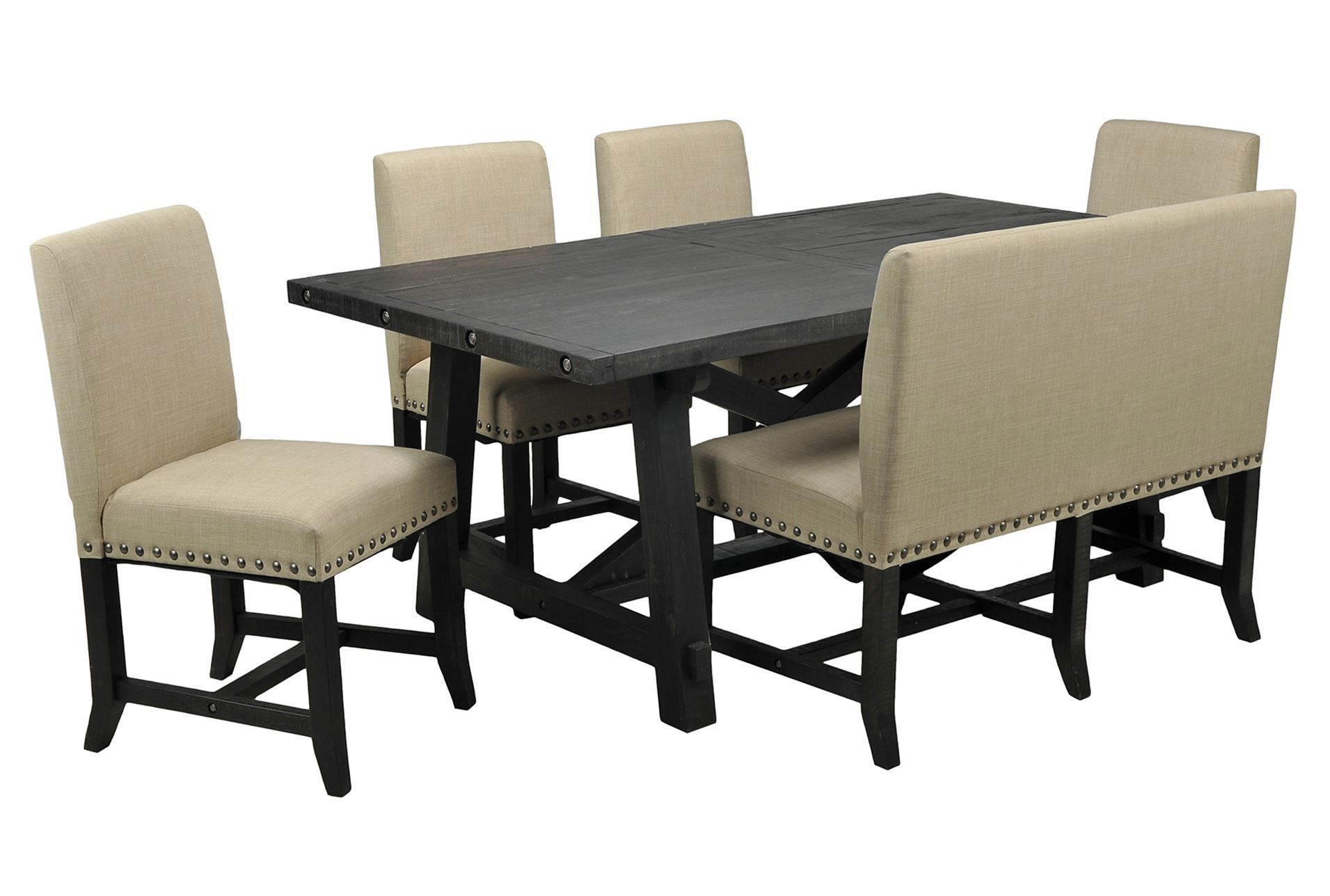 Jaxon 6 Piece Rectangle Dining Set W Bench Uph Chairs Upholstered ChairsDining TableDining