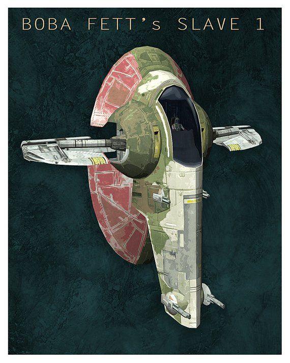 Star Wars Boba Fett Ship Slave 1 8x10 11x14 Or 16x20 Print
