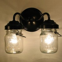 Mason jar light fixtures for reading nook and twin bed nook :)