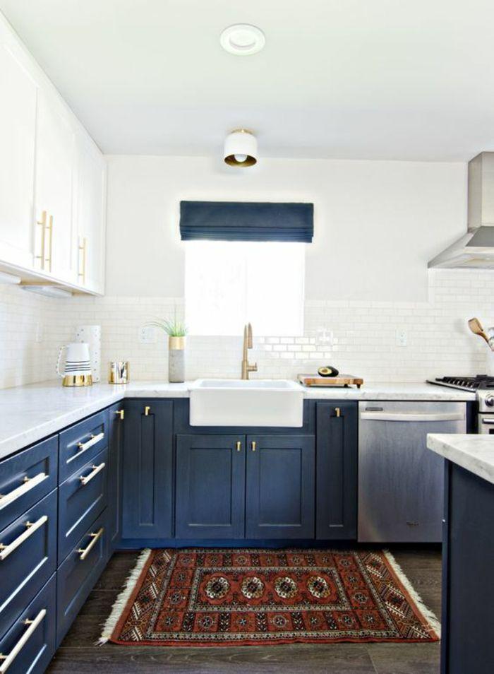 Idées Pour Une Cuisine Bleu Canard Les Intérieurs Qui - Faience cuisine et tapis couleur grege