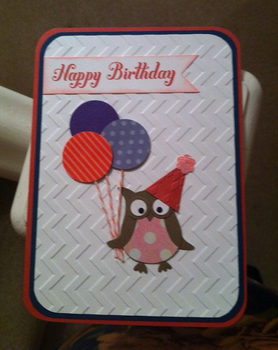 Stampin Up Handmade Birthday Card Owl Punch Dressed For A Party Circle Balloons Adorab Kids Birthday Cards Stampin Up Birthday Cards Owl Card