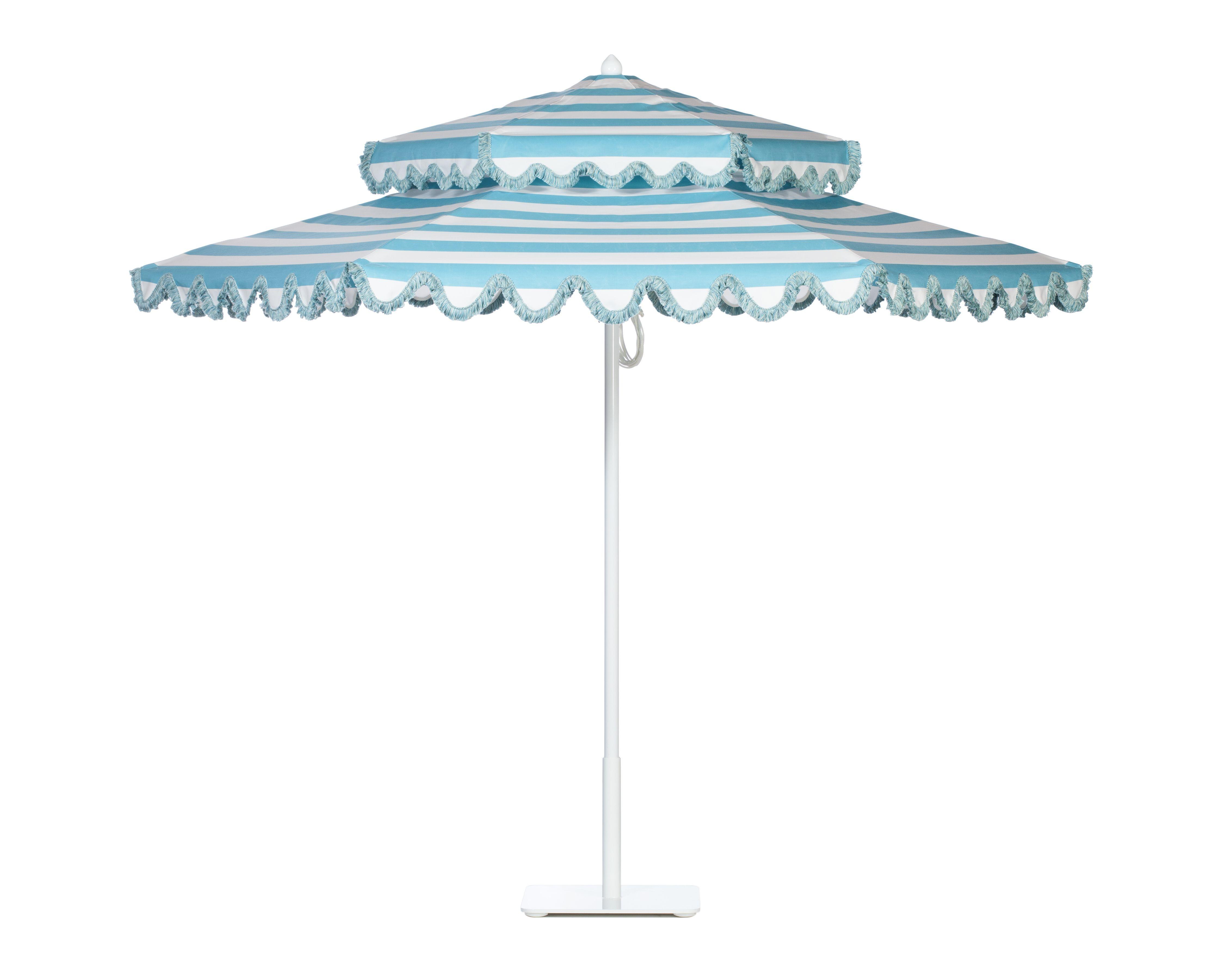 Double Decker aluminum umbrella with White frame in Cabana Aqua Sea ...