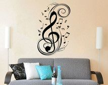 Music Note Wall Decal Treble Clef Floral Patterns Vinyl Sticker ...